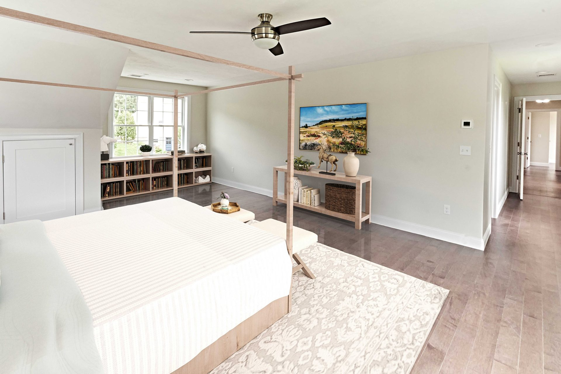 Virtually staged primary bedroom in a 3-story colonial style home in Marshfield, MA.