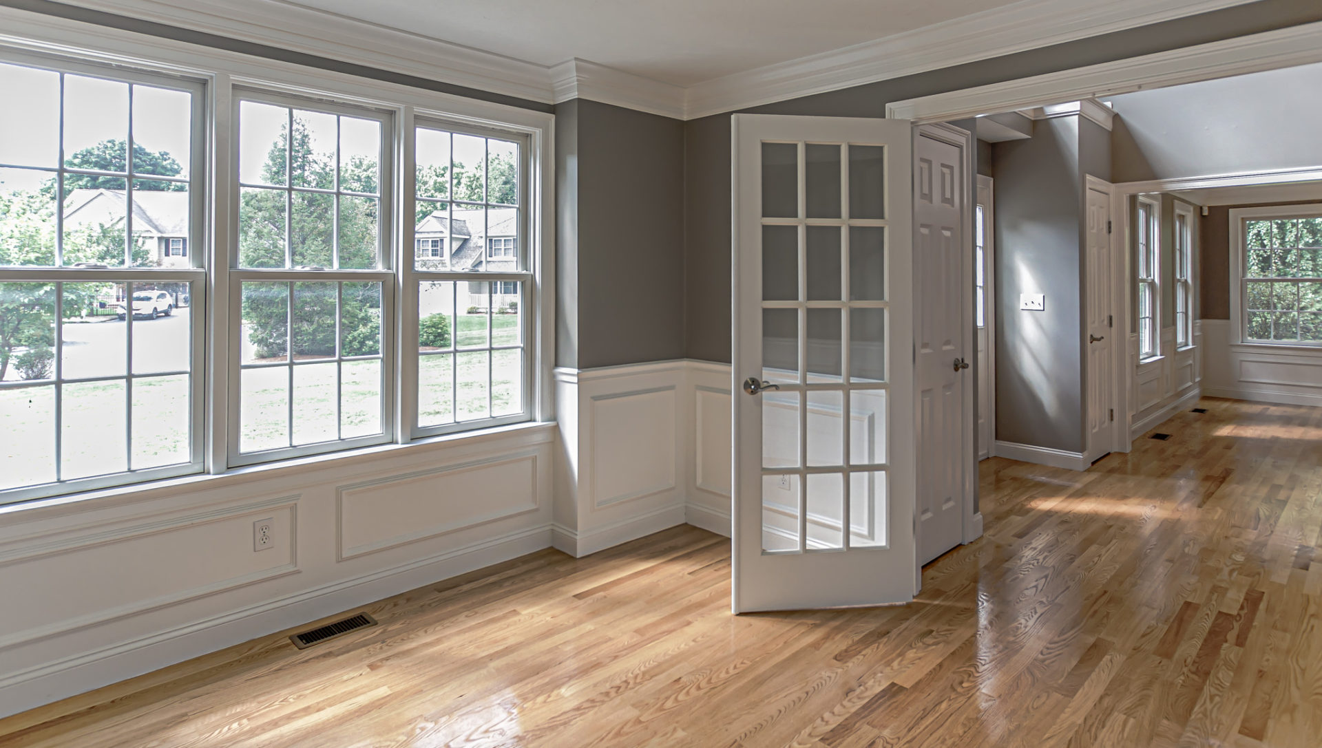 Vacant Home Office in a 2-story colonial style home in Natick, MA.